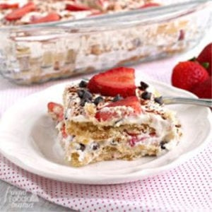 Strawberry Cannoli Tiramisu, shared by The Frugal Foodie Mama