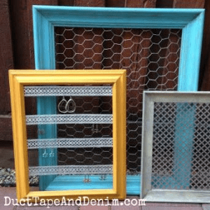 Thrift Store Makeover: Frames to Jewelry Display, shared by Duct Tape and Denim