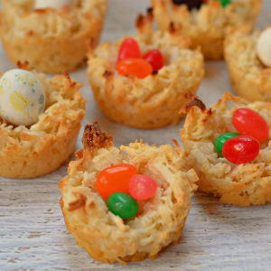 Coconut Birds Nest Cookies, shared by Growing Up Gabel